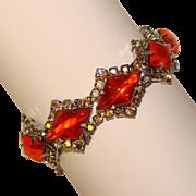 Fabulous ORANGE Glass Stones Aurora Rhinestone Vintage Bracelet