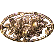 Gorgeous 830 Silver OLD ENGLISH ROSES Design Vintage Brooch