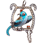 Gorgeous Sterling & Enamel PARROT Vintage Pendant - Chinese Export - Double Sided Bird