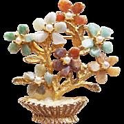 Fabulous Unsigned SWOBODA Gemstone Flower Pot Vintage Brooch