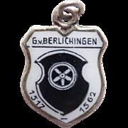 Vintage 800 Silver & Enamel BERLICHINGEN Estate Charm - Travel Souvenir of Germany