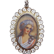800 Silver Handpainted Double Sided Vintage Pendant - Lady Portrait and Flowers
