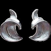 Vintage Trifari Signed Silvertone Estate Earrings