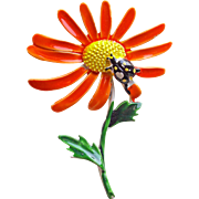 Awesome FLOWER POWER with Insect 1960s Flower Vintage Brooch