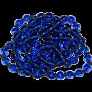 Fabulous BLUE PEKING GLASS Long Strand Antique Glass Beads