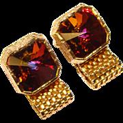 Awesome Vintage SQUARE WATERMELON RIVOLI Rhinestone Mesh Wrap Cufflinks