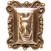 Awesome STERLING MEXICO Native Face Design Vintage Ring