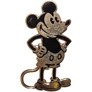 Awesome Sterling Enamel MICKEY MOUSE Vintage Brooch