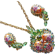 Fabulous D&E JULIANA Painted Easter Egg & Rhinestone Vintage Set - Pendant Necklace Earrings
