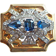 Gorgeous McClelland Barclay Signed Vintage Brooch - Blue & Clear Rhinestones