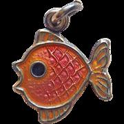 Denmark Sterling & Enamel FISH Vintage Charm or Tiny Pendant - Volmer Bahner