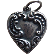 1940s Sterling Puffy Heart Vintage Charm