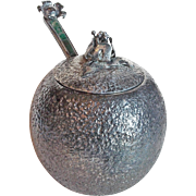 Signed LOS CASTILLO Marmalade Sugar or Honey Pot Jar - Vintage Taxco Silverplated Silver Plate with Mosaic Inlay Spoon - Orange Shape