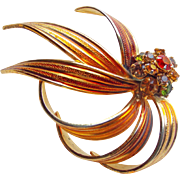 Gorgeous WEISS Signed Rhinestone & Enamel Brooch - Autumn Fall Colors