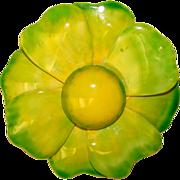 Original by Robert Large GREEN FLOWER Vintage Brooch