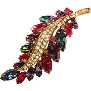 Fabulous WEISS Vibrant Colors Vintage Rhinestone Brooch