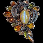 Gorgeous DRAGONS BREATH Glass Stone & Rhinestone Vintage Brooch - Autumn Fall Colors