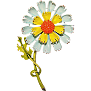 Awesome ART Signed Multi Color ENAMELED FLOWER Vintage Brooch