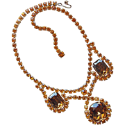 Fabulous BROWN & AMBER RHINESTONE Vintage Necklace - Autumn Fall Colors