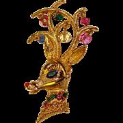 Fabulous MYLU Vintage Christmas Deer Brooch