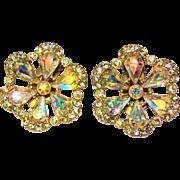 Gorgeous AURORA Rhinestone Vintage Clip Earrings