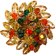 Fabulous D&E JULIANA Fall Colors Dangle Rhinestone Vintage Estate Brooch