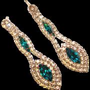Fabulous TEAL & Clear Rhinestone Dangle Earrings