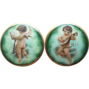 Antique Porcelain Cherubs Angels Large Buttons - Musical Theme Mandolin Player and Orchestra Conductor