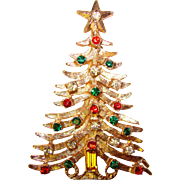 Gorgeous CHRISTMAS TREE Vintage Red & Green Rhinestone Brooch