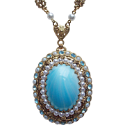 Fabuous West Germany Blue Glass & Rhinestone Vintage Necklace
