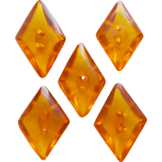 Vintage PRYSTAL BAKELITE Diamond Shaped Buttons -  Amber Orange or Apple Juice