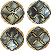 Art Deco Carved Celluloid Vintage Buttons - Set of 4 Matching