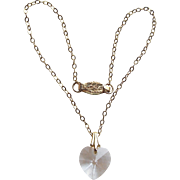 Doll Necklace - with Tiny Vintage Clear Glass Crystal Heart Pendant