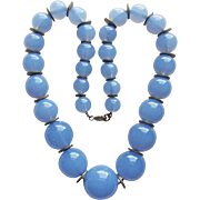 Gorgeous ART DECO Glass Bead Necklace - Chalcedony Blue Colored Glass