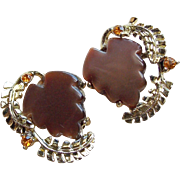 Gorgeous Fall Moonglow Lucite & Rhinestone Vintage Earrings - Brown & Amber Colors