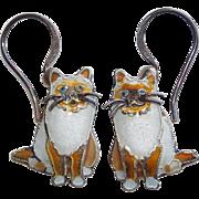 Siamese Cat Sterling & Enamel Earrings- Signed Zarah - Pierced