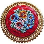 Gorgeous Red MICRO MOSAIC Micromosaic Vintage Estate Pin Brooch - Italy