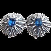 Gorgeous TRIFARI Signed Blue Rhinestone Vintage Earrings