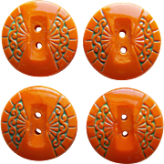 Gorgeous Czech Deco Orange Glass Buttons
