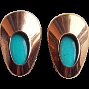 Matisse Turquoise Enamel Leaf Vintage Earrings - Honey Bear Signed