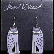 Signed LAUREL BURCH Enamel Siamese Cats Pierced Earrings - on Original Card