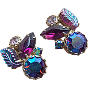 Fabulous WEISS Signed Glass Leaf Purple & Aurora Rhinestone Vintage Earrings