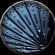 """Victorian FAN Black Glass Button - 1 3/16"""" Large Antique"""