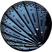 "Victorian FAN Black Glass Button - 1 3/16"" Large Antique"