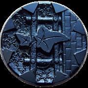 """Victorian IVY Black Glass Estate Button - 1 3/16""""  Large Antique"""