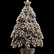 Awesome ART Signed Vintage CHRISTMAS TREE Rhinestone Estate Pin Brooch