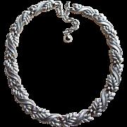 Signed Trifari Laurel Leaf Link Vintage Necklace