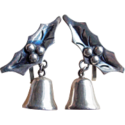 Mexican Sterling CHRISTMAS BELLS Vintage Estate Earrings - Taxco - Holly & Berry