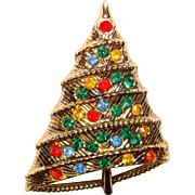 Awesome Mod Design Rhinestone CHRISTMAS TREE Vintage Brooch