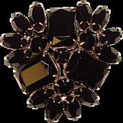 Gorgeous BLACK RHINESTONE Vintage Estate Pin Brooch